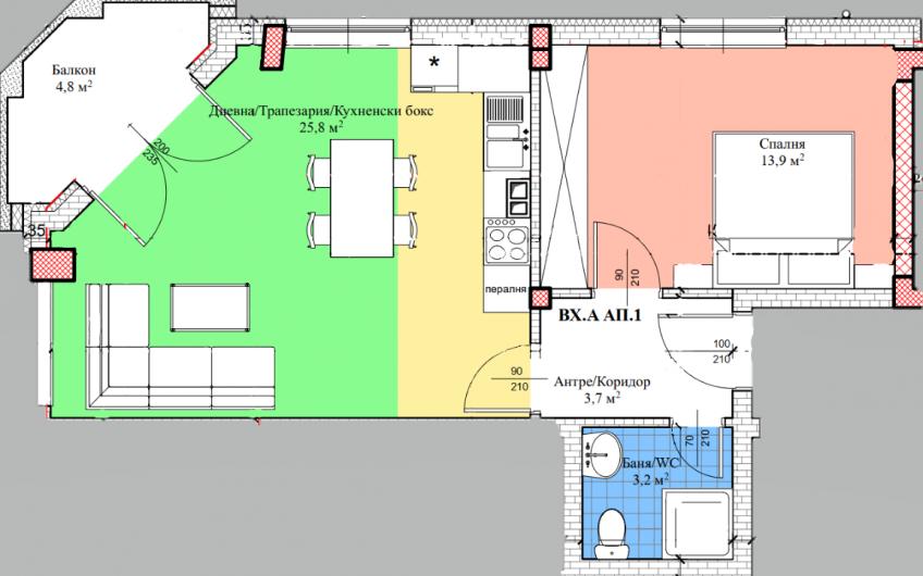 Нов двустаен апартамент в топ център